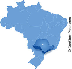 Map of Brazil where Sao Paulo is pulled out - Political map...