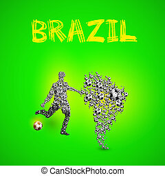 Map of Brazil with football player and ball, easy all editable