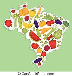 Map of Brazil with fruits