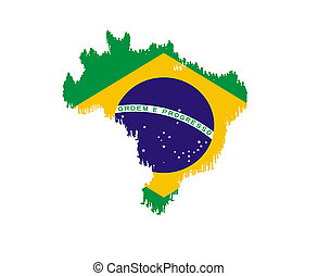 map of Brazil with national flag isolated
