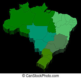 Three dimensional map of Brazil with black background