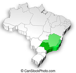 Map of Brazil with south west region - Three dimensional map...