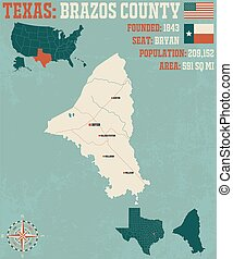 Map of Brazos county in Texas - Detailed map of Brazos ...