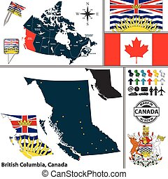Map of British Columbia, Canada - Vector map of state ...