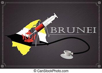 Map of  Brunei with Stethoscope and syringe.