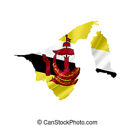 Map of Brunei with waving flag isolated on white