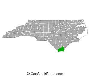 Map of Brunswick in North Carolina