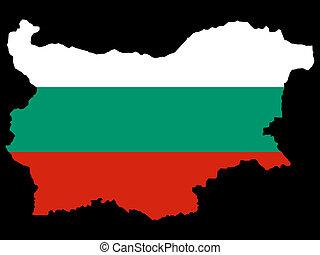 map of Bulgaria and Bulgarian flag illustration