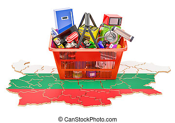 Map of Bulgaria with shopping basket full of home and kitchen appliances, 3D rendering