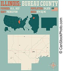 Map of Bureau County in Illinois