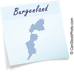Map of Burgenland as sticky note