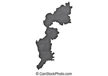 Map of Burgenland on dark slate