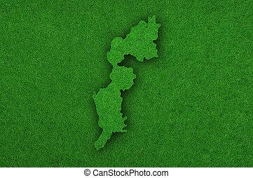 Map of Burgenland on green felt