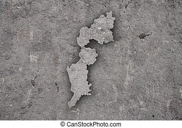 Map of Burgenland on weathered concrete