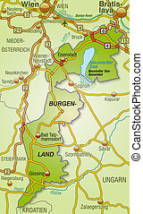 Map of Burgenland with highways