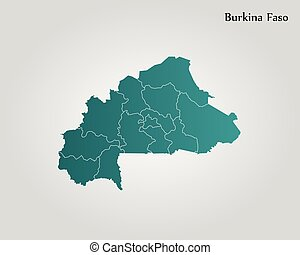 Burkina faso political map with capital ouagadougou vector