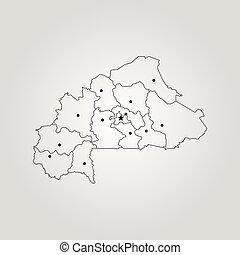 Map of Burkina Faso. Vector illustration. World map