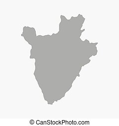 Map of Burundi in gray on a white background - Map of...
