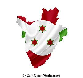 Map of Burundi with waving flag isolated on white