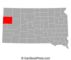 Map of Butte in South Dakota