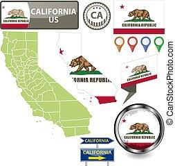 Map of California, US