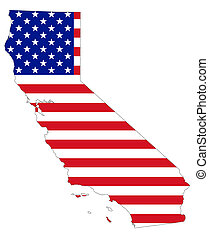 Map of California with flag of USA