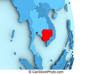 Map of Cambodia in red