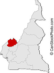 Map of Cameroon, Northwest highlighted