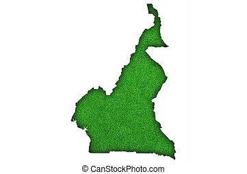 Map of Cameroon on green felt