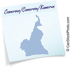 Map of Cameroons as sticky note