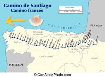 map of Camino de Santiago french route vector - Map of...