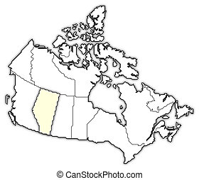 Map of Canada, Alberta highlighted - Political map of Canada...