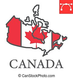 Map of Canada color line icon, country and geography, canada map flag sign vector graphics, editable stroke filled outline icon, eps 10.