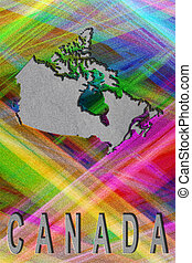 Map of Canada, colorful background