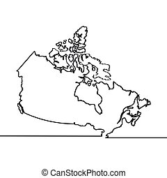 Map of Canada. Continous line