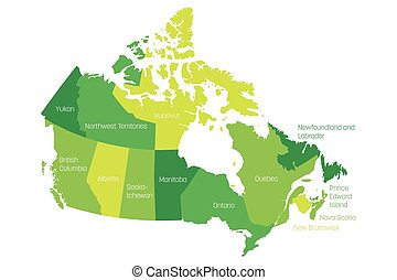 Map of Canada divided into 10 provinces and 3 territories. Administrative regions of Canada. Green map with labels. Vector illustration
