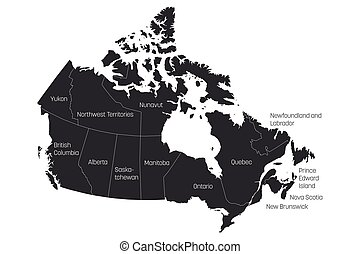 Map of Canada divided into 10 provinces and 3 territories. Administrative regions of Canada. Grey map with labels. Vector illustration