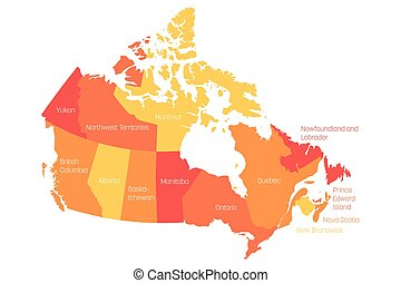 Map of Canada divided into 10 provinces and 3 territories. Administrative regions of Canada. Orange map with labels. Vector illustration