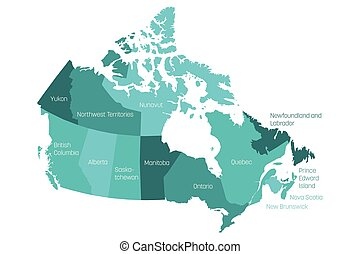 Map of Canada divided into 10 provinces and 3 territories. Administrative regions of Canada with labels. Vector illustration