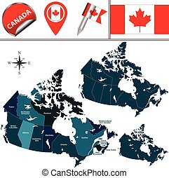 Map of Canada - Vector map of Canada with named provinces,...