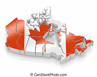 Map of Canada in Canadian flag colors