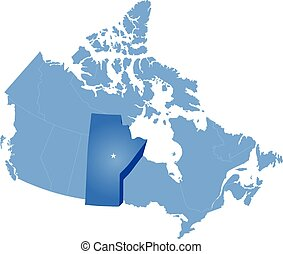 Map of Canada where Manitoba province is pulled out