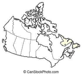 Map of Canada, Newfoundland and Labrador highlighted
