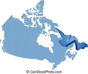 Map of Canada - Newfoundland and Labrador province