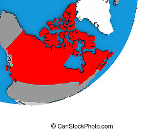 Map of Canada on 3D globe