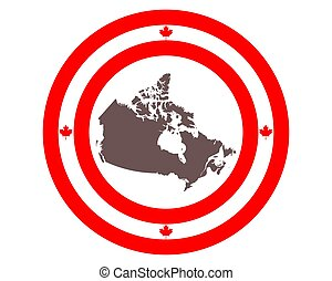 Map of Canada on background with flag