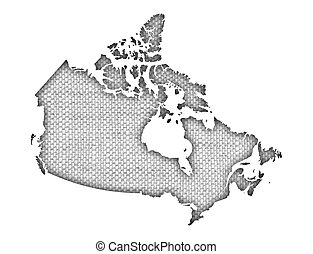 Map of Canada on old linen