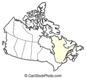 Map of Canada, Quebec highlighted