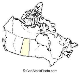 Map of Canada, Saskatchewan highlighted