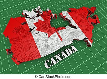 Map of Canada with flag colors